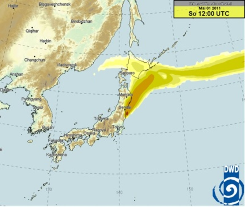 Distribution of nuclear fallout over Miyagi and Iwate prefectures from May 1, 2011