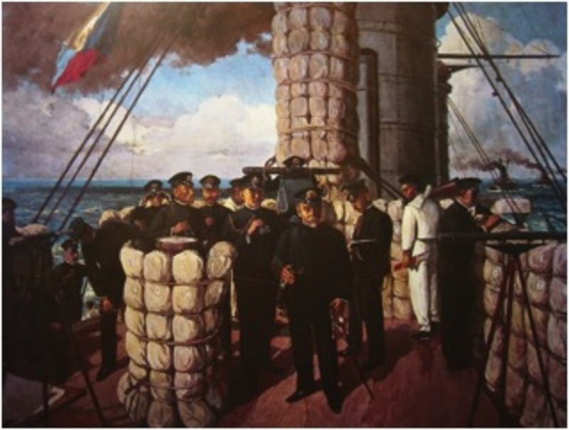 Painting of Admiral Togo on the Bridge of the Japanese Battleship Mikasa before the Battle of Tsushima in 1905