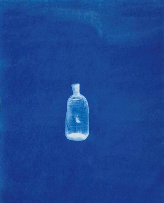 Cyanotype of a bottle deformed by the A-bomb, 2008