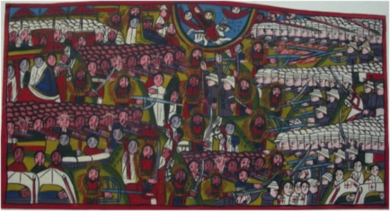 The battle of Adua 1896 in  a traditional Ethiopian painting (Collection Krebs)