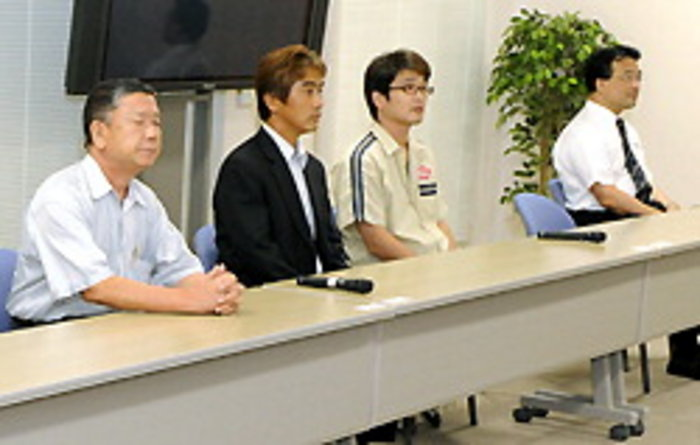 Lay judges following the verdict in the Miyake attempted murder trial.
