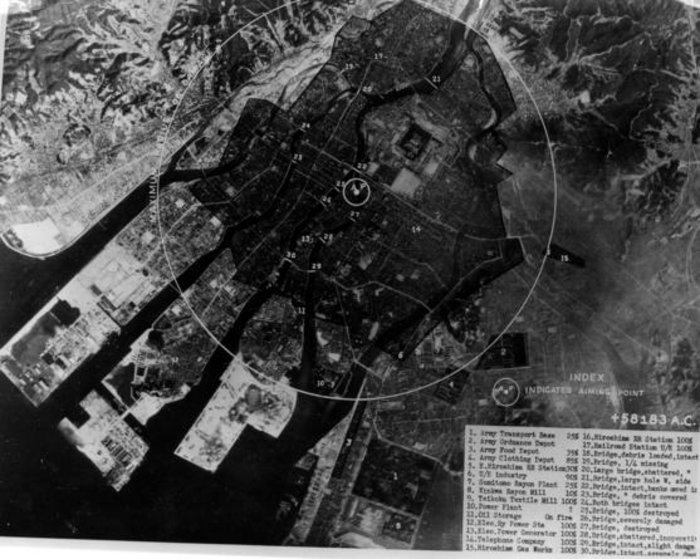Post-strike targeting photograph of Hiroshima