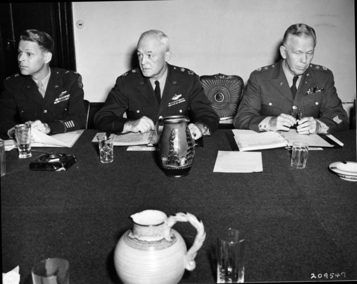 "Lauris Norstad (left), Henry ""Hap"" Arnold (center), and Marshall (right) at the Potsdam Conference"