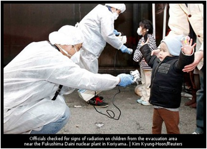 schoolchildren being tested for radioactivity from the Fukushima nuclear accident in Koriyama