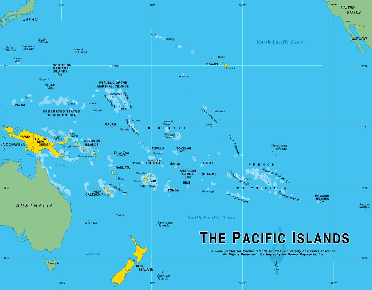 Island and City Maps for Oceania and the Pacific Stadskartor och