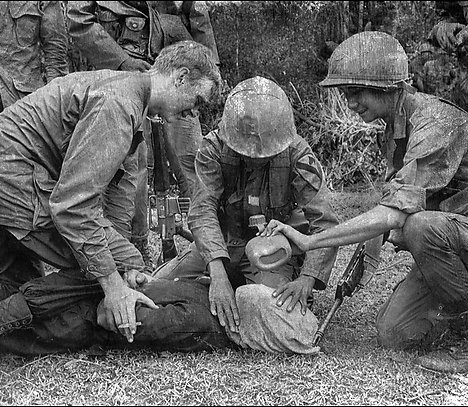 Soldiers waterboarding in the field in Vietnam